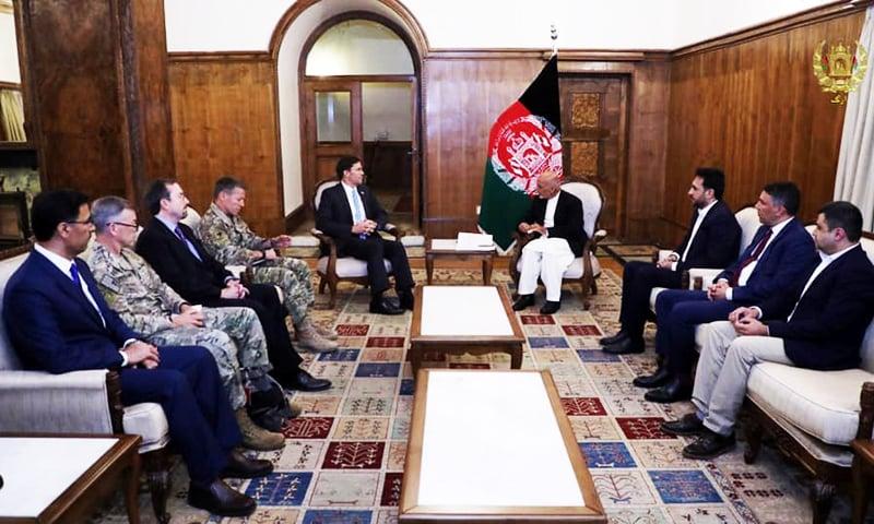 Afghanistan's President Ashraf Ghani meets with U.S. Defense Secretary Esper in Kabul